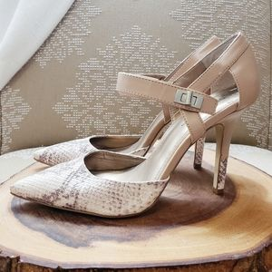 SEXY NEUTRAL POINTED TOE SNAKESKIN HEELS